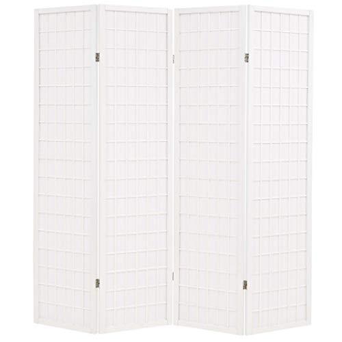 vidaXL Biombo Plegable 4 Paneles Estilo Japonés 160x170cm Blanco Decoración