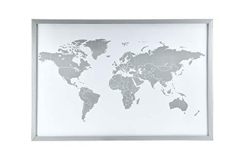 Magnetwand Weltkarte Silber 60 x 40cm