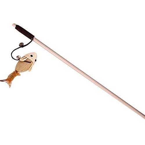 Kentop Katzenangel mit Glocke Angel Spielangel für Katzen Katzenspielzeug Interaktives Spielzeug mit Federn Maus 40cm