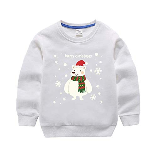 Children's Christmas Suéter otoño, adolescentes, ropa para niños y niñas, impresión de dibujos animados, manga larga, camiseta de algodón blanco 110 cm