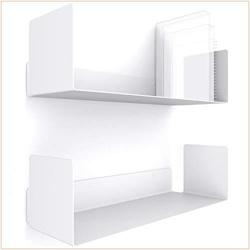 UNITURE® - [2er Set] Wandregal weiß modernes & Zeitloses Design - Bücherregal mit einfacher Montage - Wandregal 2X 42cm - Regal für Büro & Wohnzimmer