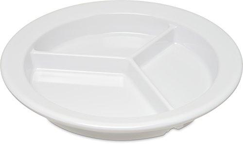 Carlisle 4351602 Dallas Ware Melamine 3-Compartment Deep Dish Plate, 9' Diameter x 1-21/64' Height, White (Case of 24)