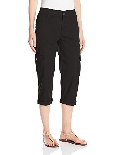 Lee Women's Missy Relaxed Fit Austyn Knit Waist Cargo Capri Pant, Black, 14