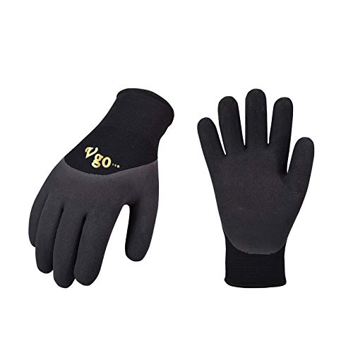 Vgo 5-Pairs Freezer Winter Work Gloves, Double Lining Rubber Latex Coated for Outdoor Heavy Duty Work (Size M, Black, RB6032)