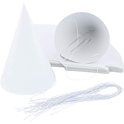 Kids Birthday Party Supplies, Cone Hat (White, 6 In, 50-Pack)