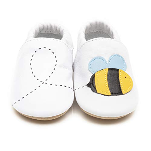 Gentle Cloud weiche Babyschuhe aus Leder, mit Rutschfester Sohle. Verpackt in süßer Kleiner Schuhschachtel. Weiße Biene 12-18m (EU 21)