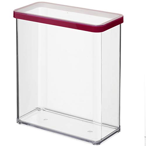 Rotho Loft rechteckige Vorratsdose 3,2l mit Deckel und Dichtung, Kunststoff (SAN) BPA-frei, transparent/rot, 3,2l (20,0 x 10,0 x 21,4 cm)