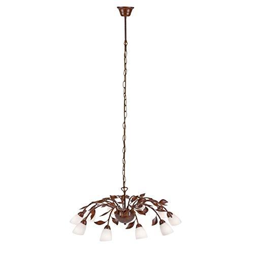 Landhaus-Leuchte, rustikale Astleuchte mit Blättern Ranken, Fassung G9 LED fähig, Rost-Optik (Pendelleuchte, 10-flammig)