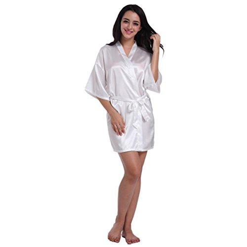 DEELIN Nueva Mujer Pura Media Manga Corta Kimono Seda SuéTer TúNica De La Boda del Partido Atractivo Pijamas De La Novia (M, Blanco)
