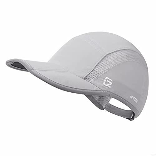 GADIEMKENSD Quick Dry Sports Hat Lightweight Breathable Soft Outdoor Running Cap (Folding Series, Light Grey)
