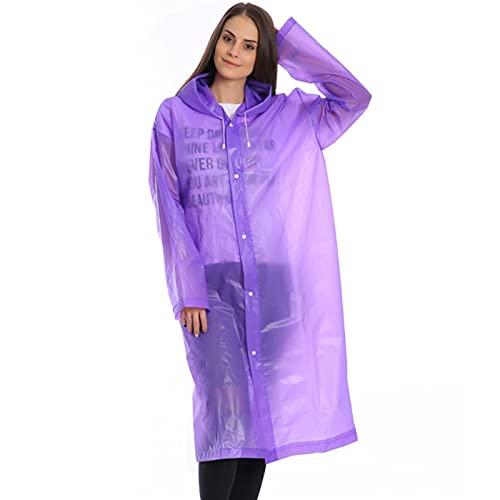 HNGM Poncho Impermeable Impermeable Modo Transparente Femmes Impermeable Épaissi Impermeable Hommes Transparente Transparente Camping Impermeable Ensemble (Color : Purple, Size : One Size)