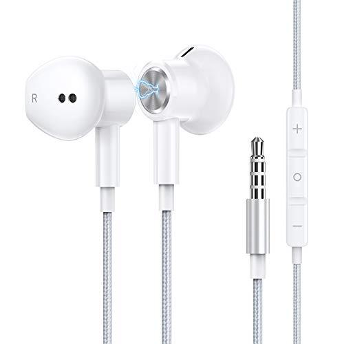 AGPTEK Auriculares con Micrófono, Auriculares Reducción de Ruido Estéreo, Control con Cable de 3,5 mm, Compatible con iOS/Samsung/Android/PC,Blanco