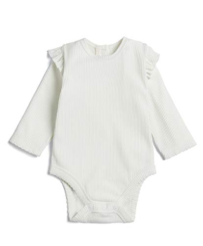 Mamas and Papas Baby Girls Bodysuit with Frill, Off-White (Cream S18QHA2), (Size: 12-18 Months)