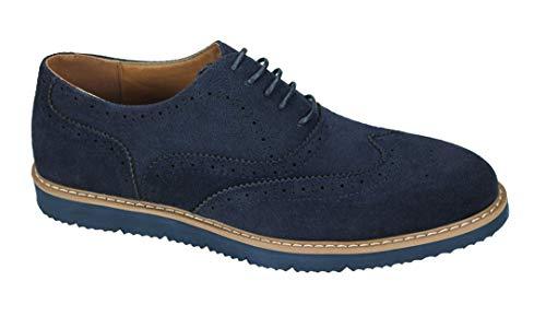 Evoga Scarpe uomo Class scamosciate casual eleganti Chelsea inglesine camoscio (42, A2 Blu)