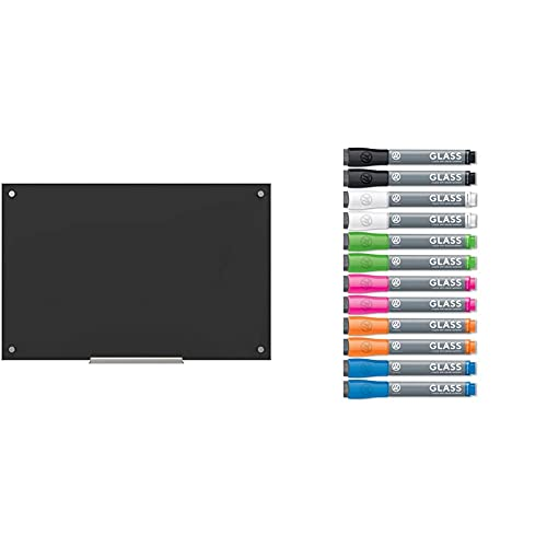 U Brands Glass Dry Erase Board, 23 x 35 Inches, Black Non-Magnetic Surface & Liquid Glass Board Dry Erase Markers with Erasers, Low Odor, Bullet Tip, Assorted Colors, 12-Count - (2913U00-12)