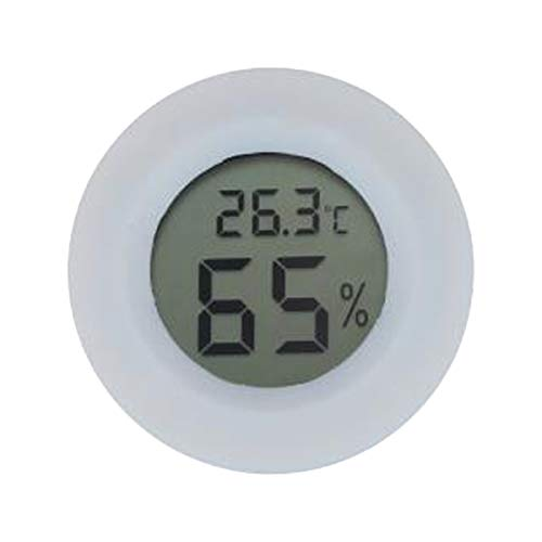 LIOOBO Rundes digitales Thermometer Hygrometer Mini LCD Feuchtetemperaturmessgerät Innen Externer Sensor