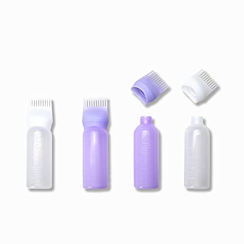 Autupy 4pcs 6 Ounce Applicator Bottle Root Comb Hair Dye Bottle Plastic Squeeze Bottles for Hair Coloring and Scalp Treament with Graduated Scale(Purple,White)