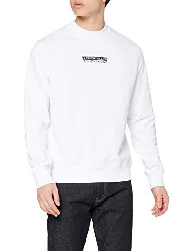 Calvin Klein Jeans Herren Micro Mirrored Mock Neck Mikroverspiegeltes Logo, Bright White, Large