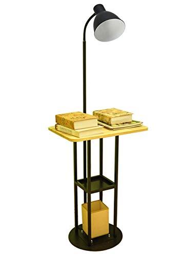 Stehleuchte Lampe Mit Schreibtisch, Wohnzimmerleuchte, Lesen Licht, Flexibler Lampenkopf (9W LED, Massivholz, Leuchtenkörper Aus Eisen, E27 Lampenfassung, Bottom Anti-Rutsch-Pad, Schwarz)