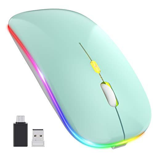 PASONOMI Aktualisierung PC Maus Kabellose, LED Wiederaufladbare Leise Funkmaus Laptop Mouse, 2.4 G USB Mäuse mit USB-Empfänger Typ C Kompatibilität mit Computer/PC/Tablet (Grün)