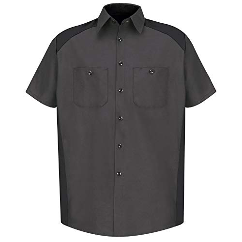 Red Kap Herren Men's Short Sleeve Motorsports Shirt Button-Down Hemd, Anthrazit/Schwarz, Groß