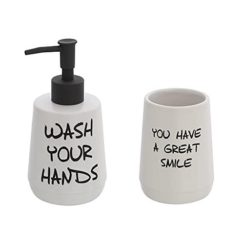 Set dispenser sapone liquido e portaspazzolino in ceramica bianca con stampe a contrasto moderno