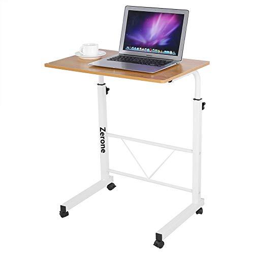 Zerone Tisch Laptop verstellbar für Sofa Bett, Beistelltisch für Computer mit Rollen höhenverstellbar Schreibtisch Bürotisch Tisch IT-Computer für Haus und Büro