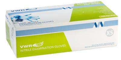 VWR 82026-430 Powder-Free Nitrile Examination Glove, X-Large, 22.9cm Length, Blue (Pack of 100)