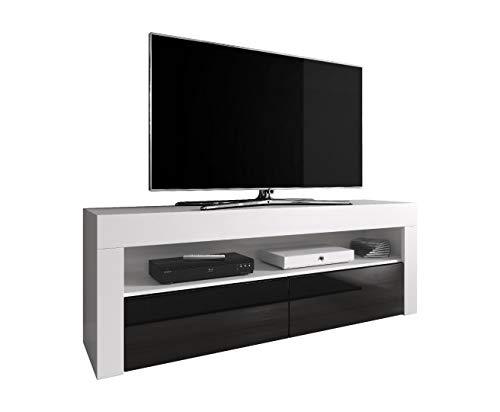 E-com Meuble TV Meuble TV Divertissement Luna 140 cm Corps Blanc Mat Avant Noir Brillant (sans LED)