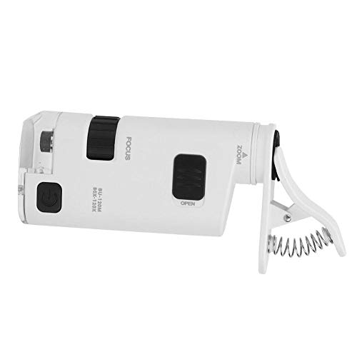 GLOGLOW Cell Phone Microscope, 80-120X LED Microscope Magnifier with Clip Clip-Type Loupe Microscope Jewelry Loupe Magnifier Micro Lens for Universal Mobile Phones