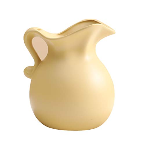 MaxTom Antike Shabby Chic Vase Keramik Krug Retro Milchglas Kreativität Creme Vase Stil Land Blumenvase (Color : Yellow, Size : 13×13×15.5cm)