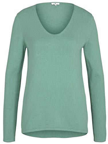 TOM TAILOR Damen Basic Langarmshirt Sweatshirt, 25986-Soft Leaf Green, M