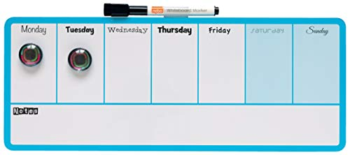 Nobo Pizarra Magnética Pequeña de Pared para Planificar la Semana, Borrado en Seco, Diseño de 2 Colores, Clip Integrado para Rotulador, Incluye Rotulador e Imanes, 360 x 140 mm, Azul, 1904047