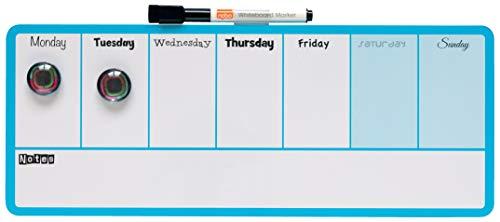 Nobo Organizador semanal magnético, 360x140m, Marco azul, Blanco, 1904047