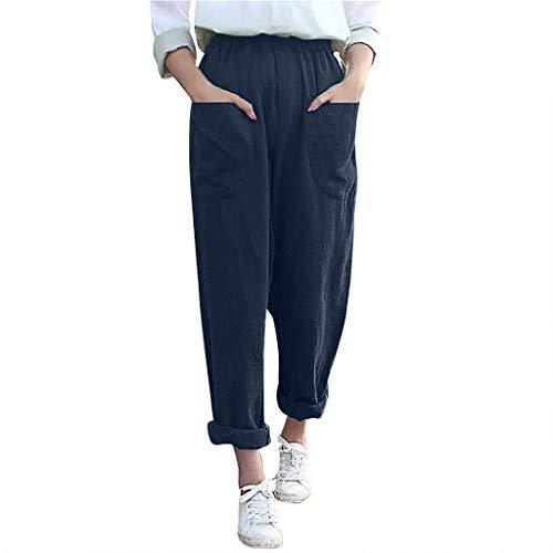 Frauen große Pluderhosen einfarbig elastische Tasche weites Bein Hosen Hosen Casual Leinenhose Mode lose Damenhose Sonojie