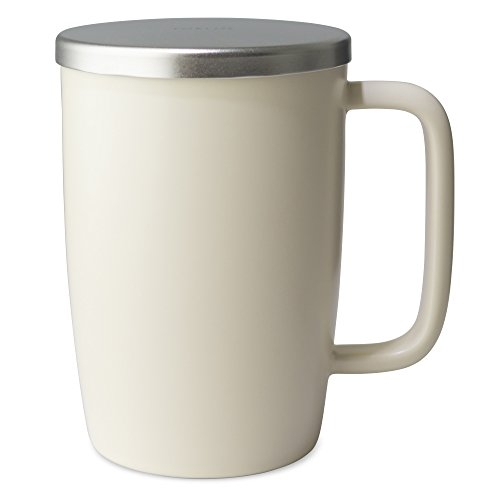 FORLIFE Dew Satin Finish Brew-In-Mug with Basket Infuser & Stainless Lid 18 oz., Natural Cotton