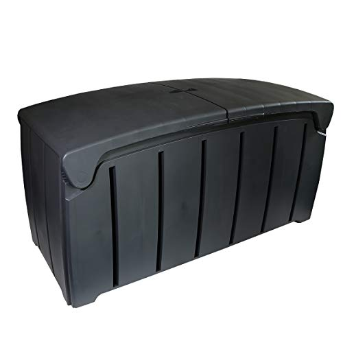 Charles Bentley Ward 322L Storage Box- Grey H60 x L115 x W55cm Butterfly Lid Weather Proof Robust Padlock Hole