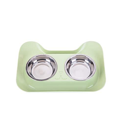 Pet Ciotola Doppia Verde per Cani Cibo per Gatti Alimentatore Contenitore in Acciaio Inossidabile Tazza di Alimentazione per Animali Domestici di Acqua e Cibo Bowl