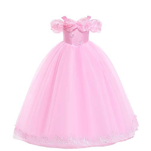OBEEII Vestidos Princesa Niña Traje del Vestido Princesa Reino del Hielo para Carnaval Navidad Halloween Cosplay 5-12 Años
