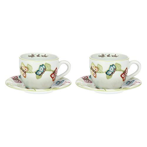 THUN - Set Tazze Colazione da 2 per tè, caffè, Tisana e Latte, Decorate con Farfalle - Accessori Cucina - Linea Farfalle in Festa - Formato Grande - Porcellana - Piattino 17,5 x 2,5 cm