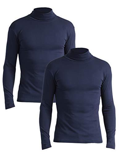 Lower East Slim Fit Rollkragen Shirt Pull à col roulé, Bleu Navy), Small, Lot de 2