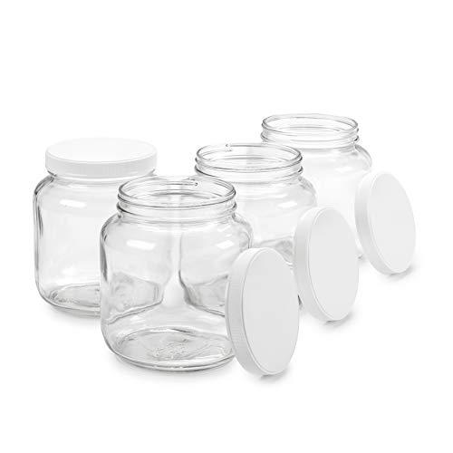 Half Gallon Glass Jar with Airtight Leakproof Plastic Lid - Wide Mouth Empty - Dishwasher Safe, Food Safe - Kombucha Tea, Kefir, Canning, Sun Tea, Fermentation, Food Storage, 4 Jars