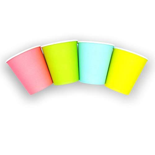 Cocobanana Bicchieri di Carta da 200ml, Monouso, Biodegradabili - Cartone Adatto a Uso Alimentare, Inodore e Insapore - Per Bevande Calde & Fredde, Caffè, Tè, Aperitivi, Cocktail (Multicolore, 200)
