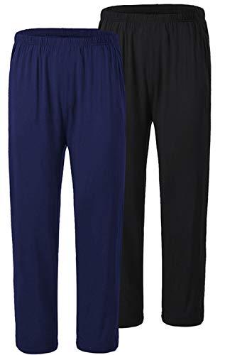JINSHI Pantaloni Lunghi Pigiama da Uomo Morbide Modal Pantalone da Salotto Biancheria da Notte 2 Pack-Nero/Blu Navy Small