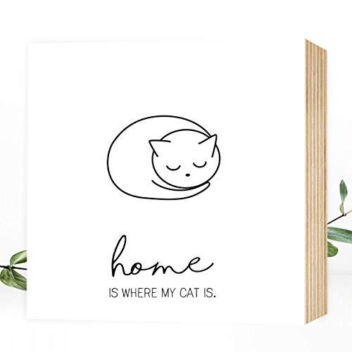 Wunderpixel® Holzbild Home is where my Cat is - 15x15x2cm zum Hinstellen/Aufhängen, echter Fotodruck mit Spruch auf Holz - schwarz-weißes Wand-Bild Aufsteller zur Dekoration/als Geschenk - Katze