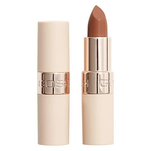 GOSH Luxury Nude Lippenstift mit leichtem Schimmer │ intensive Nudetöne für ein natürliches Ergebnis │ spendet Feuchtigkeit für weiche Lippen | langanhaltend, parfümfrei & 100% vegan | 002 Undressed