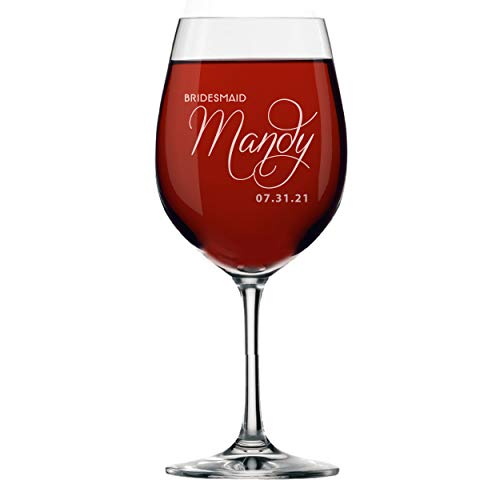 Personalized Bridesmaids Wedding Party Wine Glasses - Custom Etched and Engraved
