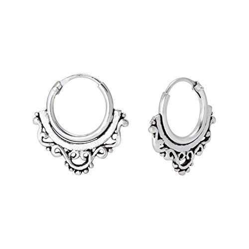Bali Hoop Earrings - Dangle Sterling Silver Earrings