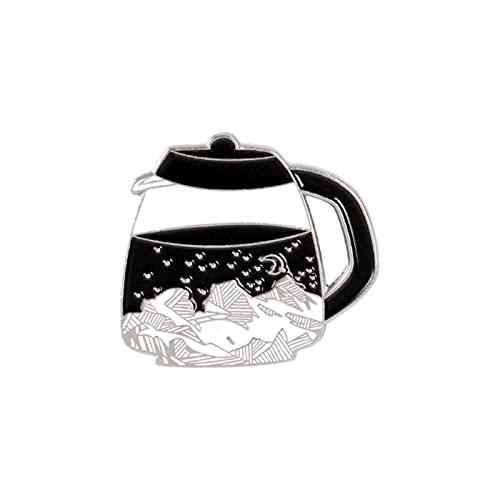 POSDN Pin de conejito Yin Yang Fish Fantasma Skull Badges Broches para mujer divertido y lindo café olla esmalte Pin bolsa de ropa joyería regalos
