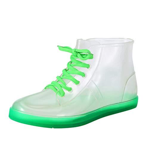 LILIHOT Regen Stiefel Damen Transparente wasserdichte Boots Bunte Regen Stiefel Ankle Schnürschuhe Mode Ankle Stiefeletten Gummistiefeletten Regenstiefel Waterproof Ankle Booties